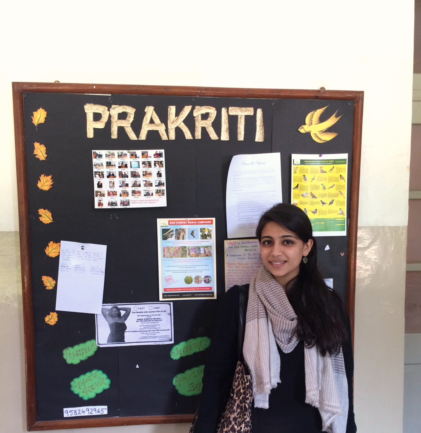 Ms. Taneja with CBMI poster at her college (Lady Sriram College) in Delhi